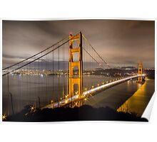 Capturing Golden Gate Bridge in the Night Poster
