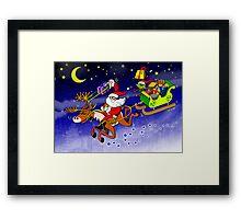Santa's Gift Delivery with a Slingshot! Framed Print