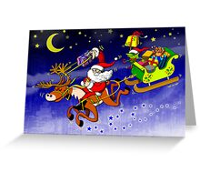 Santa's Gift Delivery with a Slingshot! Greeting Card