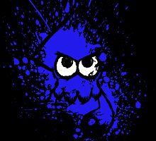 Splatoon Black Squid with Blank Eyes on Blue Splatter Mask by Martin Mothiron