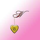 W Golden Heart Locket by Chere Lei