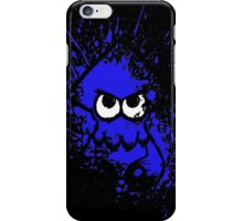 Splatoon Black Squid with Blank Eyes on Blue Splatter Mask iPhone Case/Skin