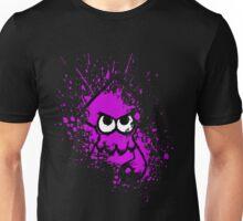 Splatoon Black Squid with Blank Eyes on Purple Splatter Mask Unisex T-Shirt