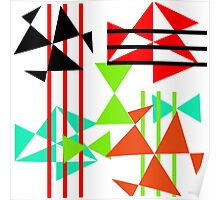 Trendy Bold Bright Colorful Abstract Geometric Design Poster