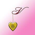 V Golden Heart Locket by Chere Lei
