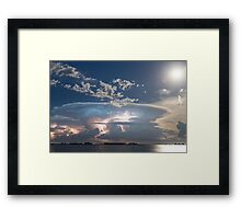 Lake View Lightning Show Framed Print