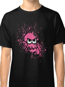 Splatoon Black Squid with Blank Eyes on Pink Splatter Mask Classic T-Shirt