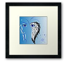 Beauty woman's face, wings and butterflies Framed Print