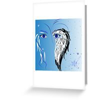 Beauty woman's face, wings and butterflies Greeting Card