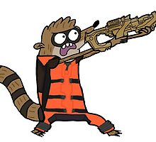 Rocket Rigby (Transparent Sticker) by MicroGalaxies