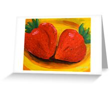 Strawberries On Yellow Plate Greeting Card