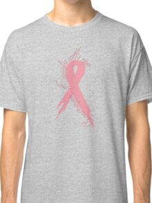 Breast Cancer Courage Faith & Hope Ribbon Girly Fitted Short Sleeve Shirt  Classic T-Shirt