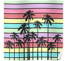 Colorful Summer Stripes with Tropical Palm Trees Poster