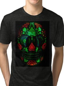 Ornate Day of the Dead Sugar Skull Tri-blend T-Shirt