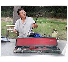China 2009, Nanjing, Busker with Erhu Poster