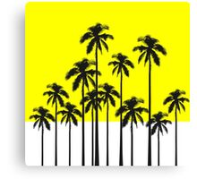Colorful Summer Neon Yellow & Tropical Palm Trees Canvas Print