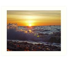 Low angle view of Sunset at Cedar Beach, NY Art Print