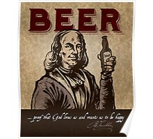 Ben Franklin's thoughts on Beer Poster