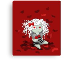 Loving doll giving her heart Canvas Print