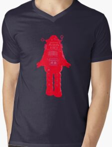 Red Robot Mens V-Neck T-Shirt