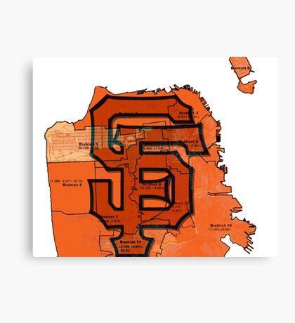 San Francisco Giants Map Canvas Print