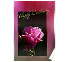 Happy Birthday - Pink Rose  Poster