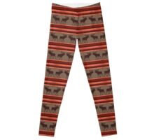 Rustic red brown moose pattern Leggings