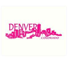 Denver Colorado pink artistic skyline Art Print