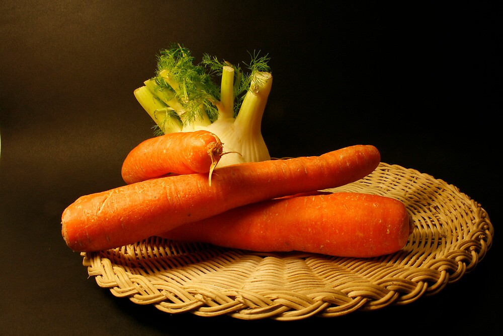 plate with fennel and carrots by marinamagri