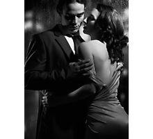 Beautiful portrait of couple standing near window on rainy night black and white art photo print Photographic Print
