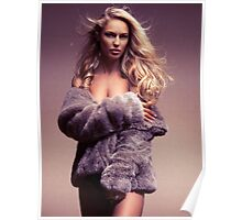 Glamour photo of beautiful woman in fur coat over naked body art photo print Poster