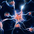 Neurons and neural connections Brain cells 3D illustration art photo print by ArtNudePhotos