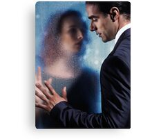 Couple separated by wet glass pane art photo print Canvas Print