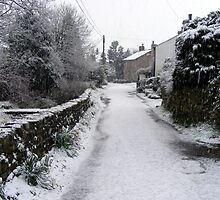 Village snow scene in North Lancashire, England by David Dutton
