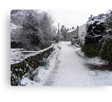 Village snow scene in North Lancashire, England Canvas Print