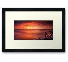 Driftwood in dark red dramatic sunset panoramic scenery over lake Huron art photo print Framed Print