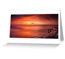 Driftwood in dark red dramatic sunset panoramic scenery over lake Huron art photo print Greeting Card
