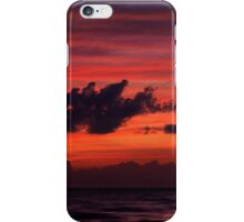 Dark dramatic clouds backlit by beautiful red sunset sky art photo print iPhone Case/Skin