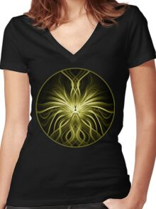 Golden Flame Abstract Women's Fitted V-Neck T-Shirt