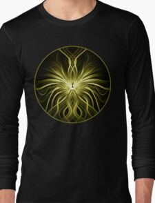 Golden Flame Abstract Long Sleeve T-Shirt
