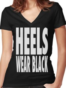 Heels Wear Black Women's Fitted V-Neck T-Shirt