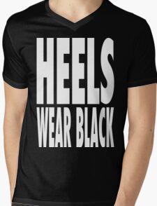 Heels Wear Black Mens V-Neck T-Shirt