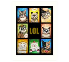 LOL Cats with Moustaches Art Print