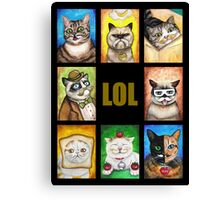 LOL Cats with Moustaches Canvas Print