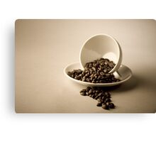 Cup and Coffee Beans Canvas Print