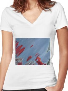 Tulips, Dorothy, Abstract Photography, Raw Image, Refraction through glass Women's Fitted V-Neck T-Shirt