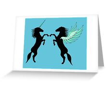 Unicorn vs. Pegasus Greeting Card