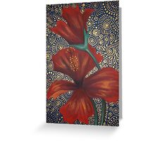 Red Hibiscus with Bud Greeting Card