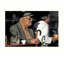 Passing the time in Lesvos Greece Art Print