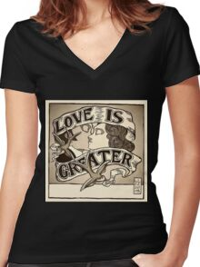 Love Is Greater (Sepia) Women's Fitted V-Neck T-Shirt